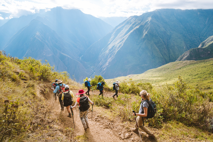 trekkers descending on choquequirao trek