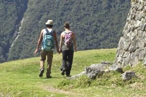 two hikers enjoying the Inca Trail trek