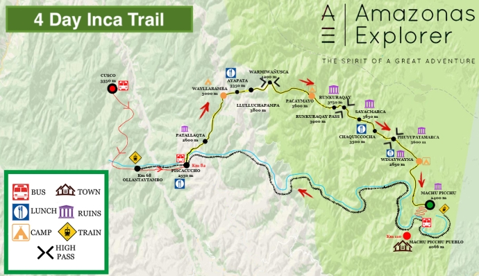 map of 4 day inca trail