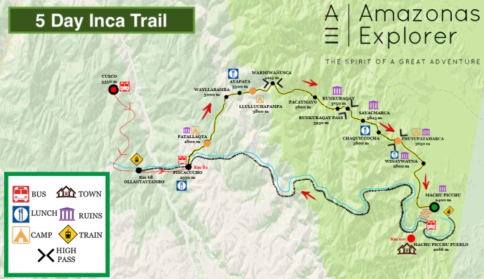 5 Day Inca Trail map