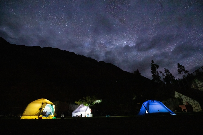 tents at night on 5 day inca trail