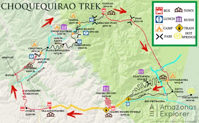 map for Choquequiro to Machu picchu trek