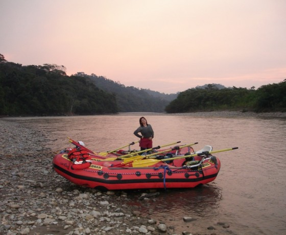 Sunset while Tambopata River rafting