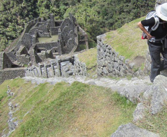 Climbing Inca steps on the one day inca trail like to Machu picchu