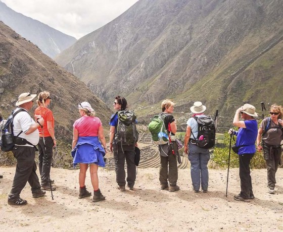 clients on a guided trekking holiday in cusco, Peru