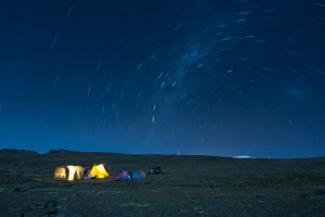 peru adventure campsite under star trail