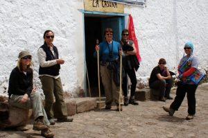 amazonas explorer trekkers outside hotel in peru