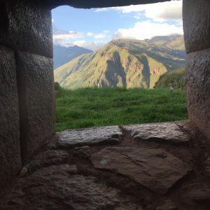 View from Huchuy Qosqo through Inca window