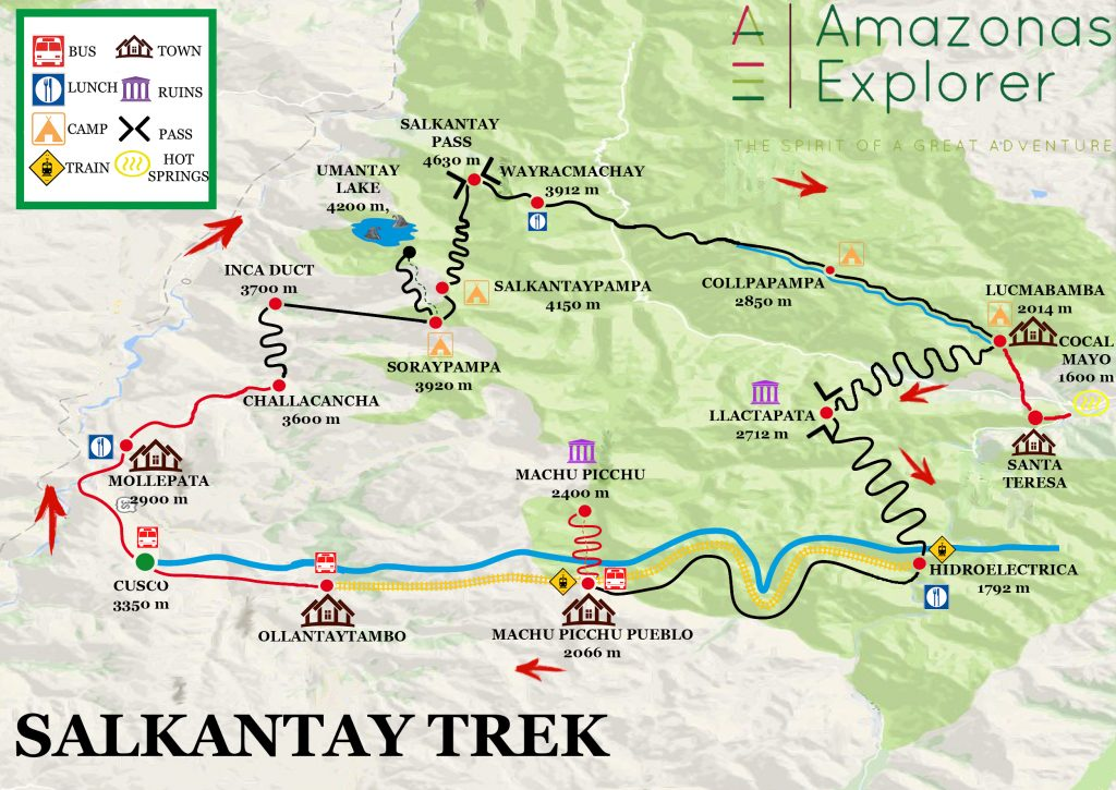 Salkantay trek route map