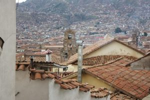 church bell tower in Cusco- one of the sounds of cusco