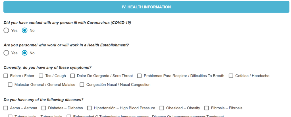 health affidavit peru