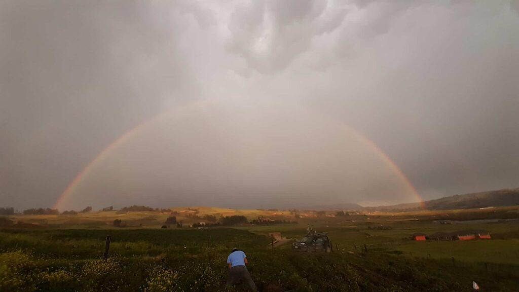 rainbow at lake huaypo farm