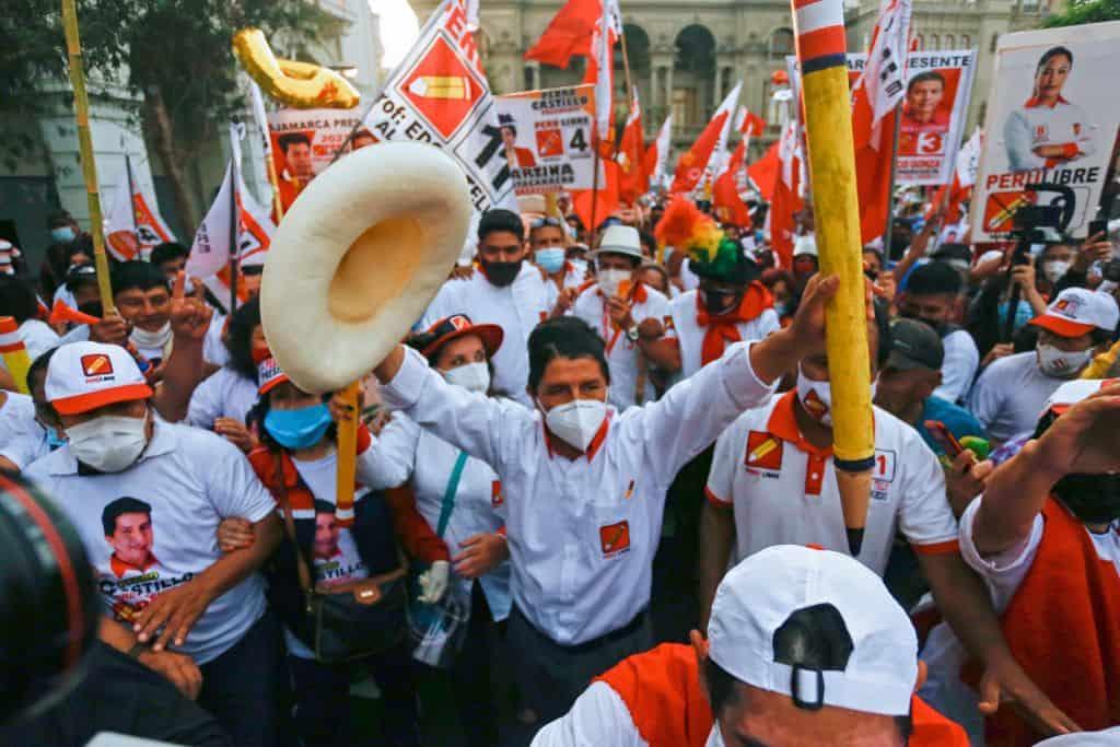 castillos supporters in the peruvian election