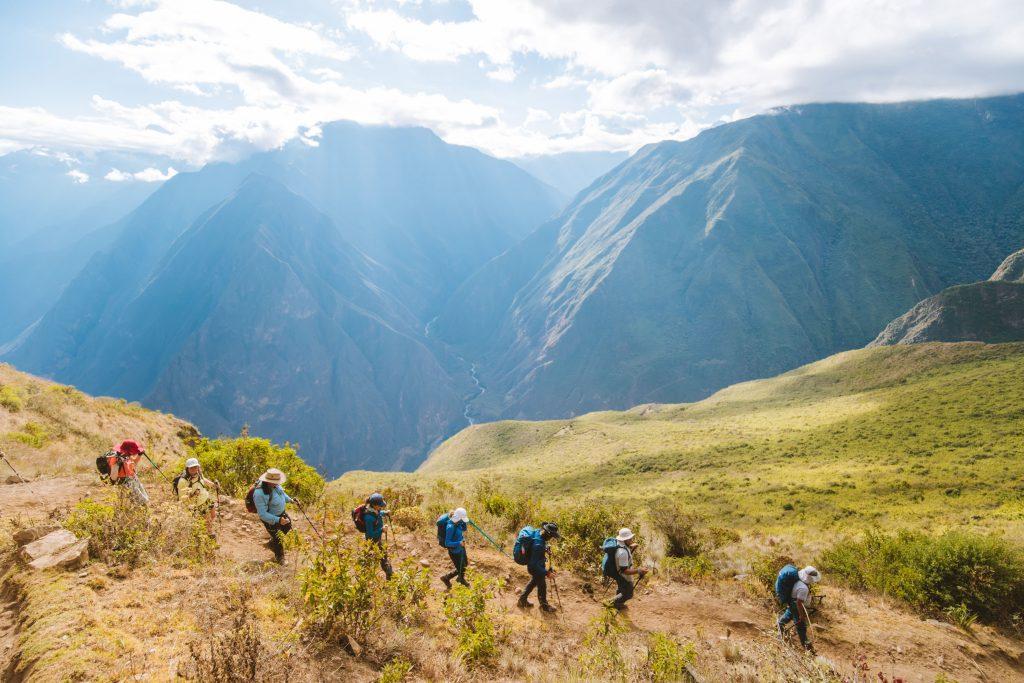 group trekking to choquequirao